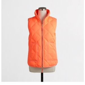 J Crew Factory Quilted Puffer Vest Neon Coral sz M